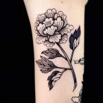 Korean traditional paint shaped peony tattoo