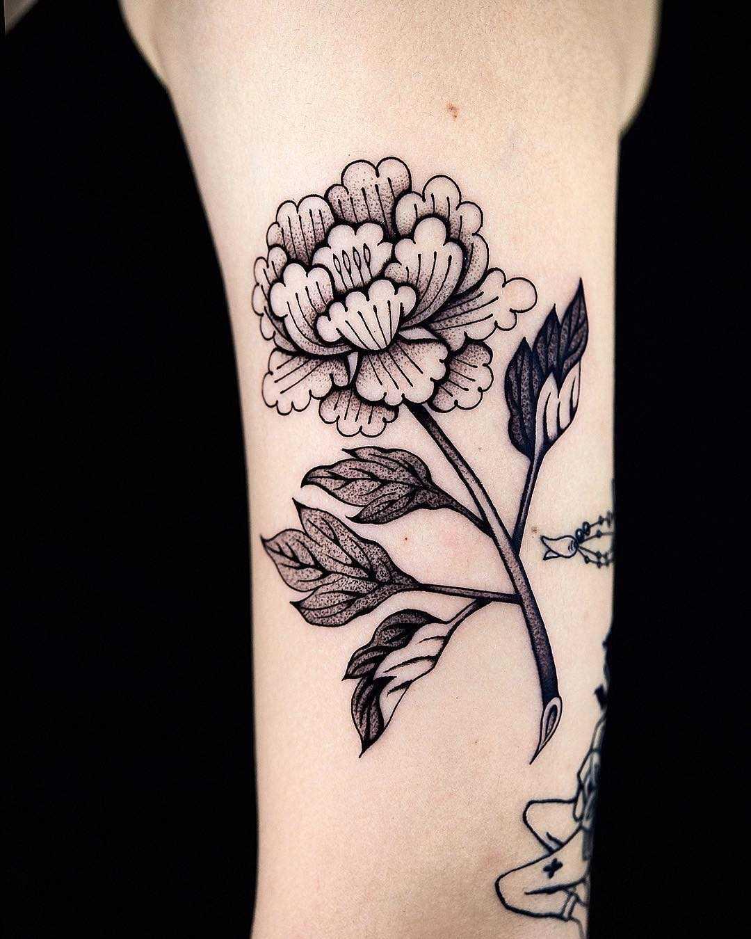 Korean traditional paint shaped peony tattoo