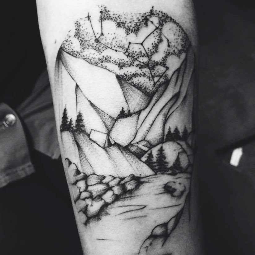 Landscape and constellation piece by Helen X