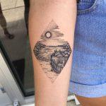 Linework seascape tattoo by Kelly
