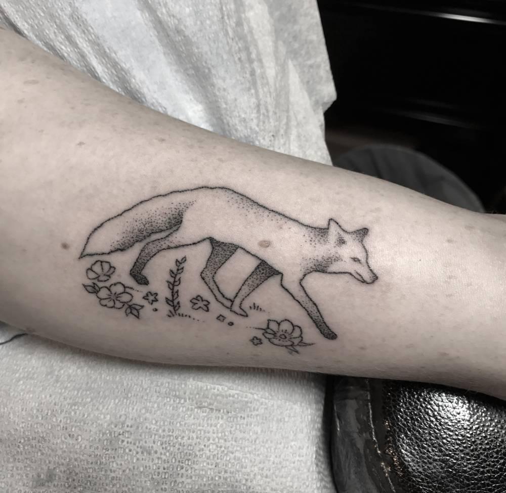 Lovely fox tattoo by Evan Lorenzen