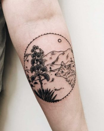Lovely landscape and fox tattoo