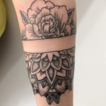 Mandala and rose tattoo