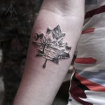 Maple leaf landscape tattoo