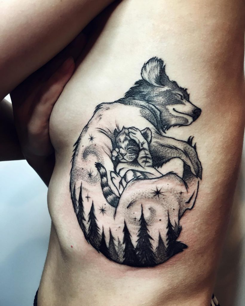 Momma wolf and baby wolf tattoo