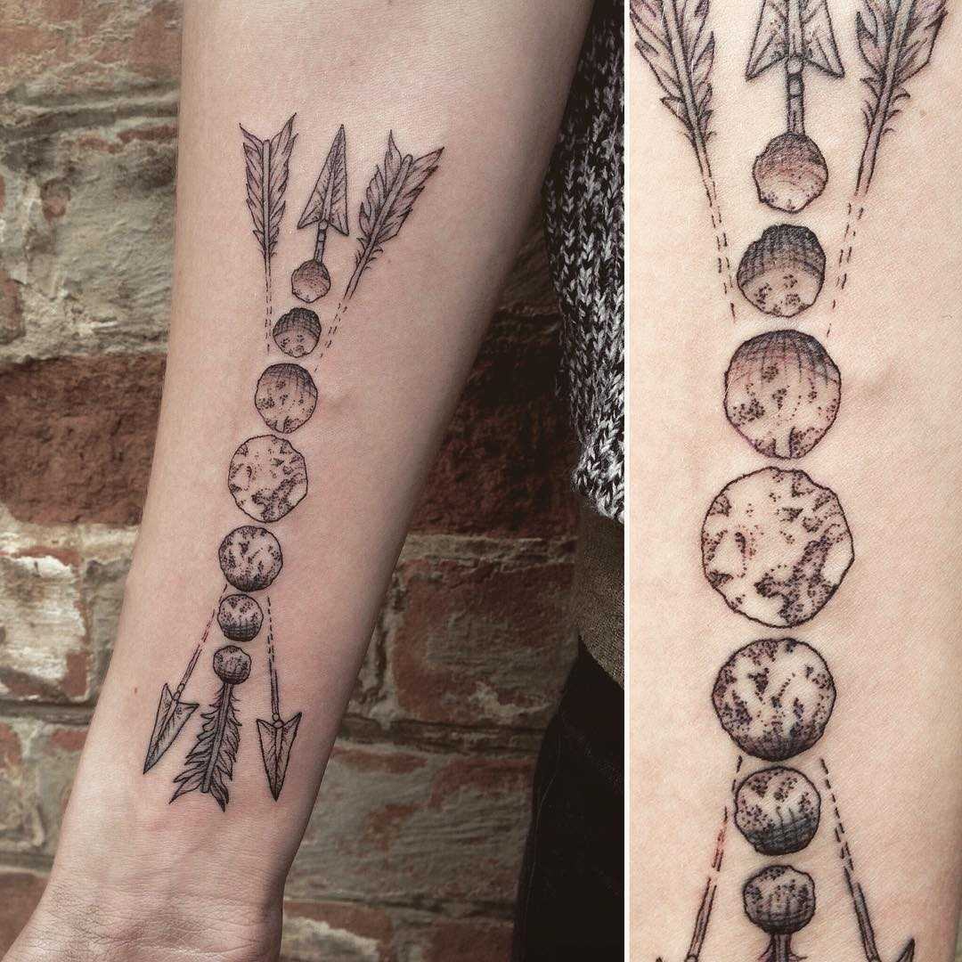 Moon phases and arrows