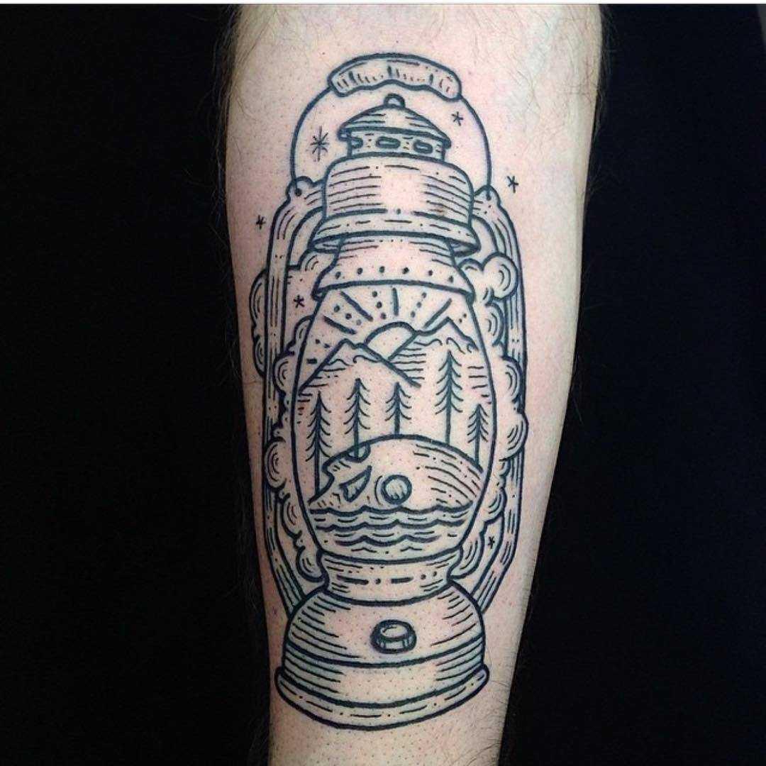 Oil lantern tattoo by Kyler Martz