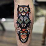 Owl wolf monkey totem tattoo