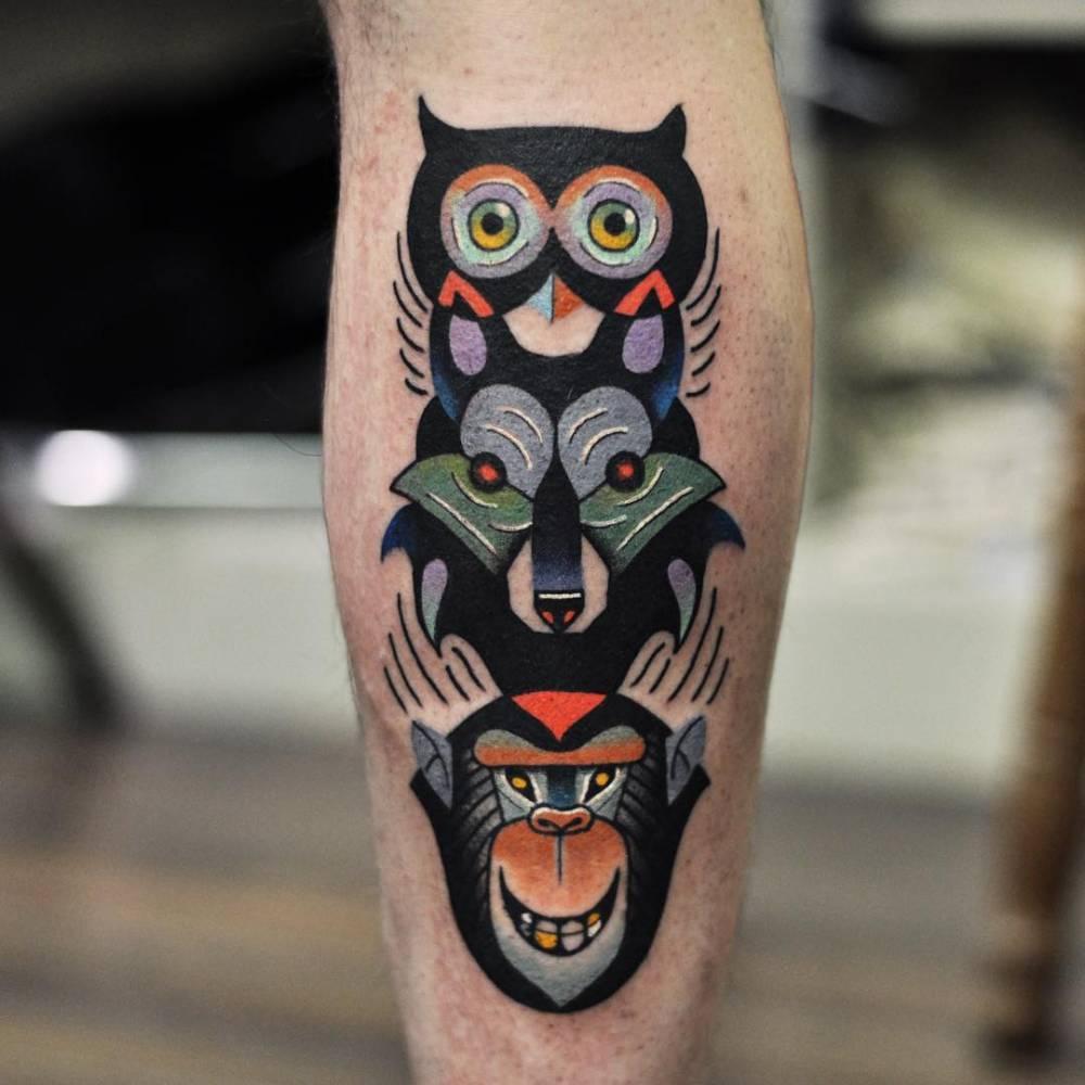 Owl Wolf Monkey Totem Tattoo Tattoogridnet