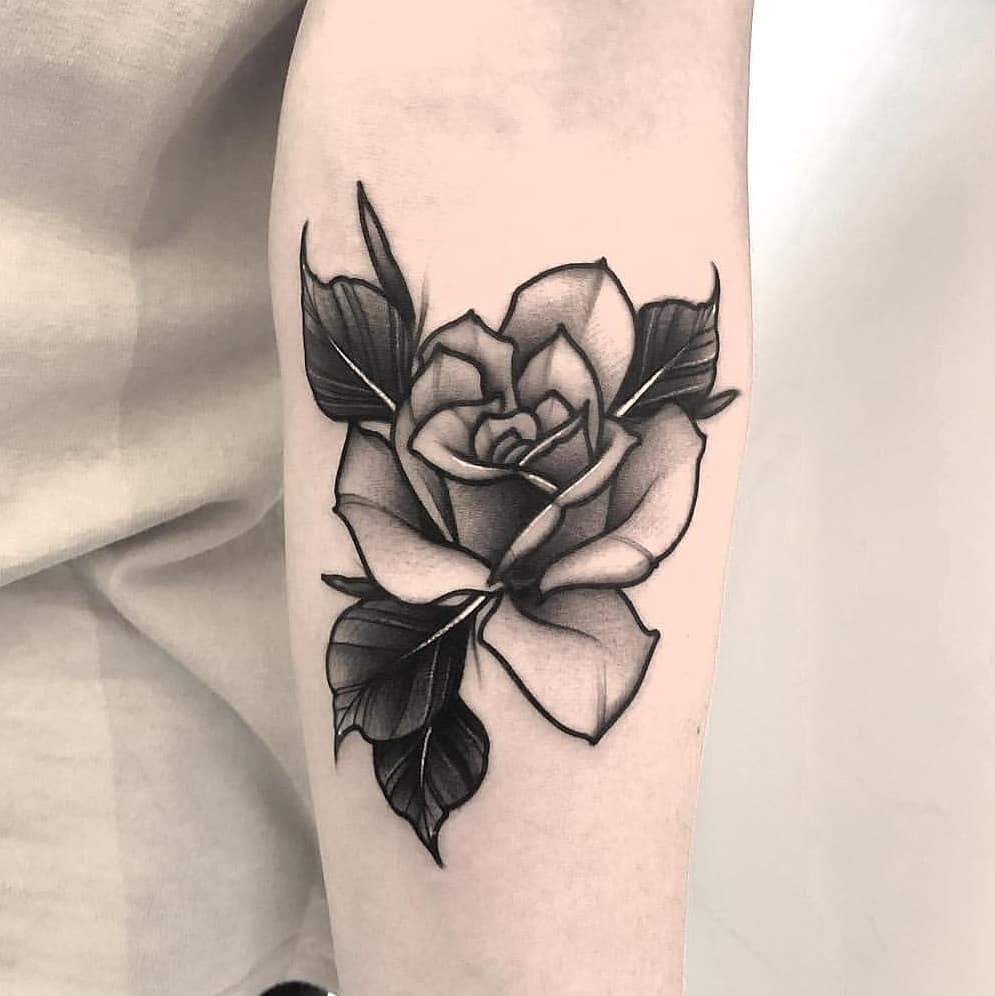 Perfect black and grey rose tattoo