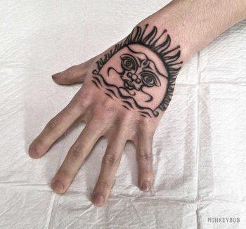 Personalized sun tattoo by Monkey Bob
