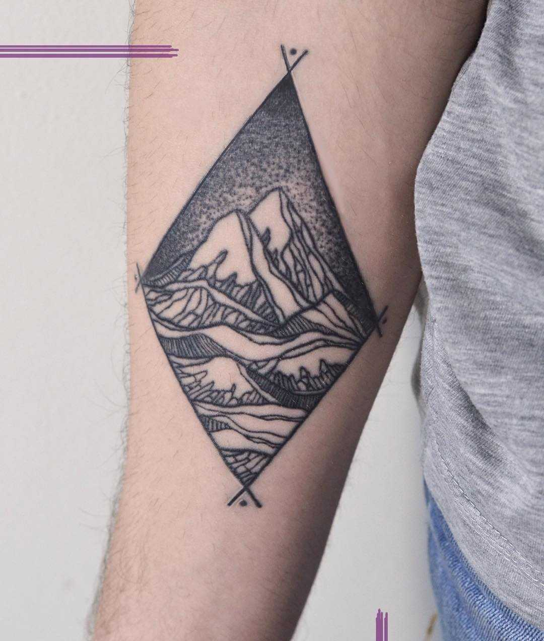 Rhombus-shaped mountain landscape tattoo