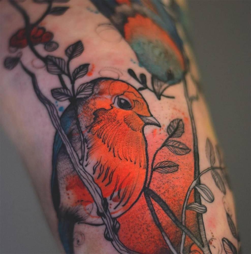 Robin tattoo by Joanna Świrska Dżo Lama