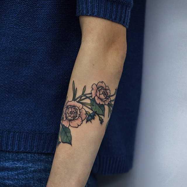 Roses and cornflowers tattoo