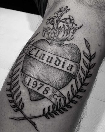 Sacred heart and twigs tattoo