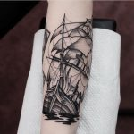 Sinking ship tattoo by Jonas Ribeiro