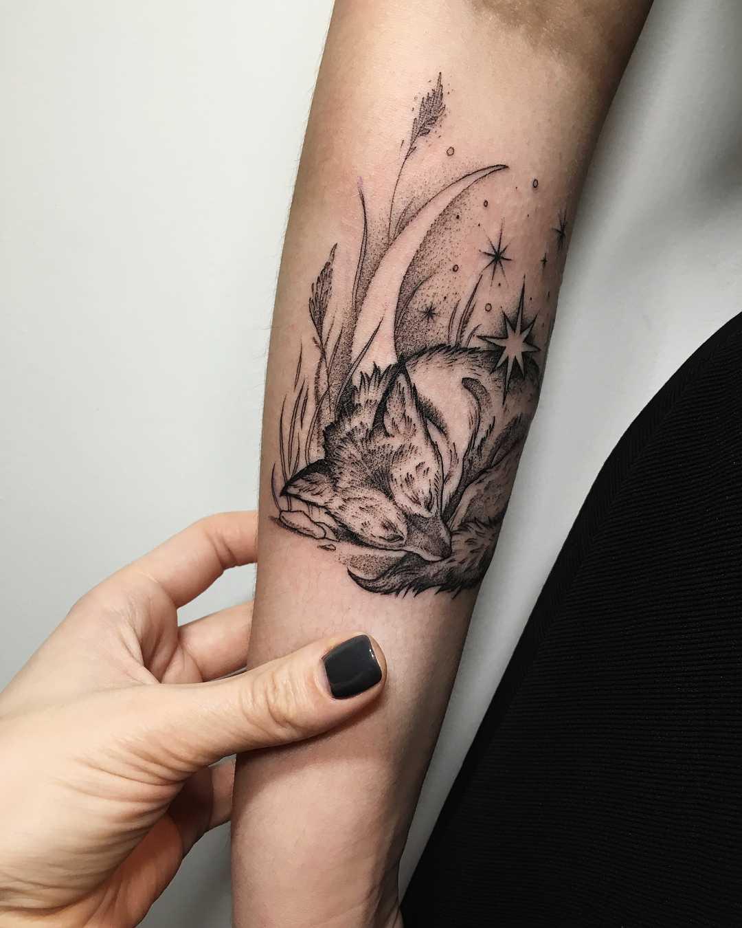 Sleeping fox tattoo by Sasha Tattooing