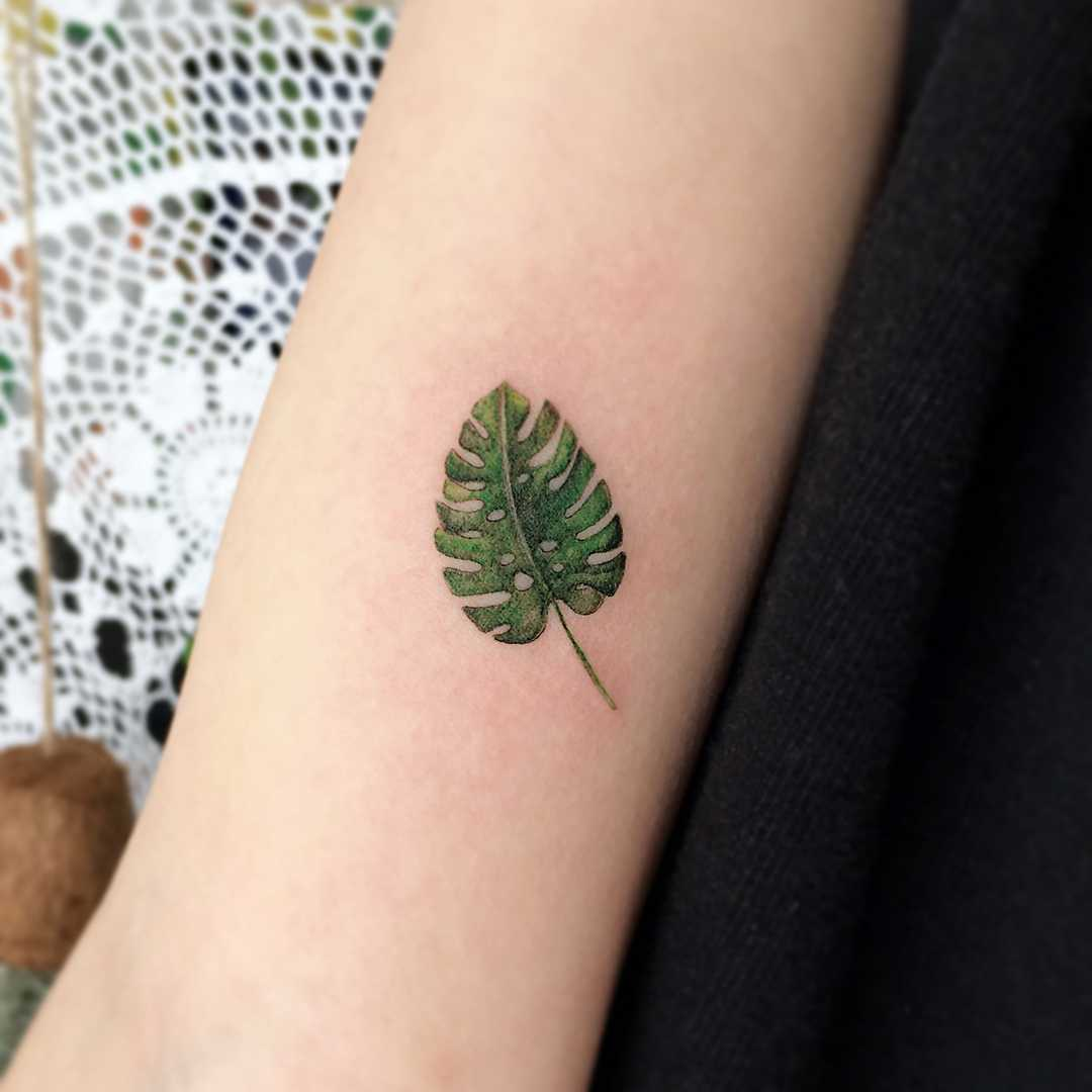 Small Monstera leaf on the forearm
