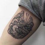 Sun, clouds, and wave tattoo by Sasha Kiseleva