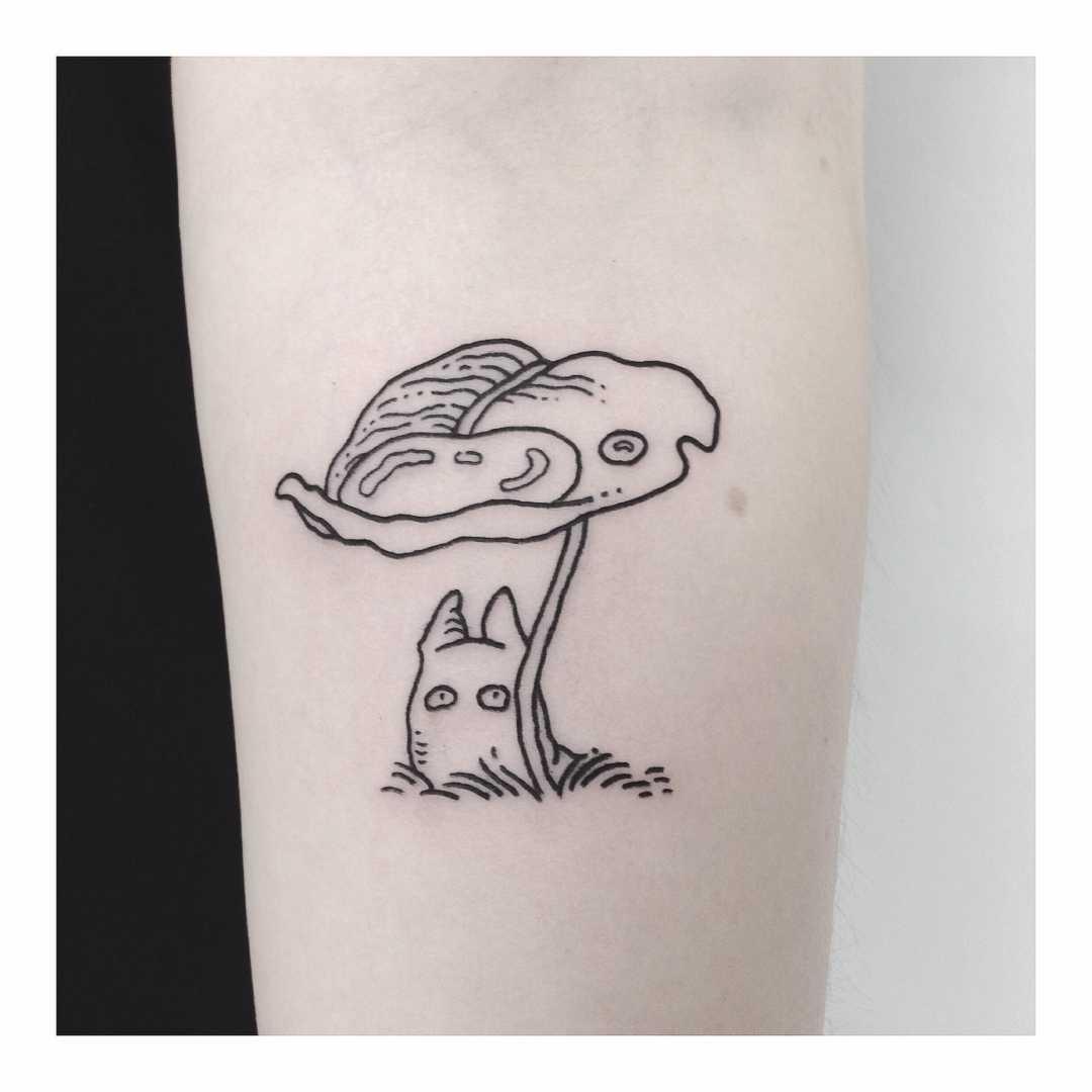 Tiny Totoro scenery tattoo