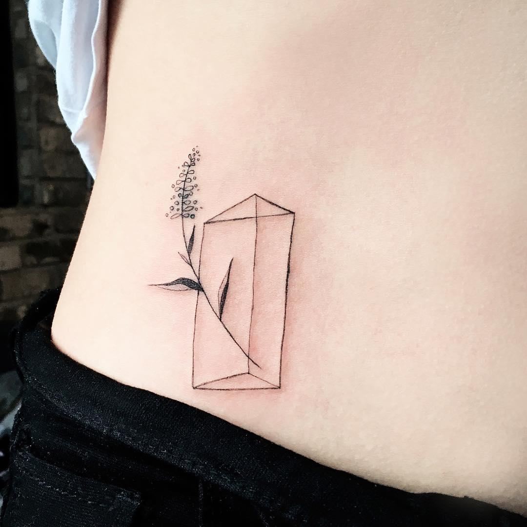 Triangular prism and lavender tattoo