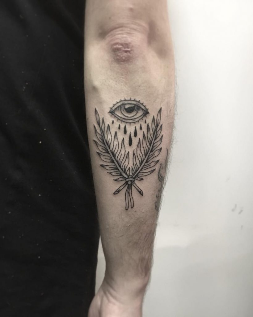 Twigs and eye tattoo by Flash Yakes