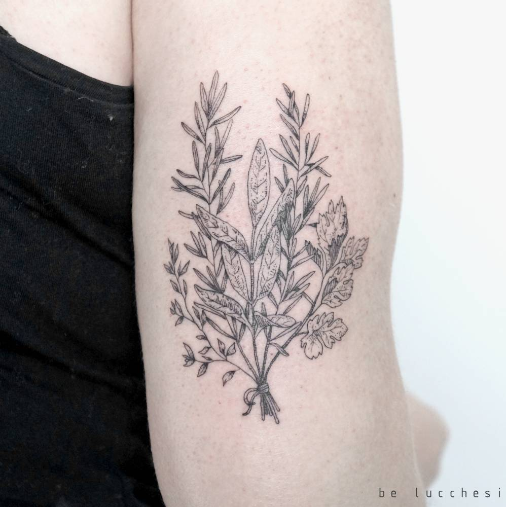 Wild plants bundle tattoo by Be Lucchesi done in São Paulo