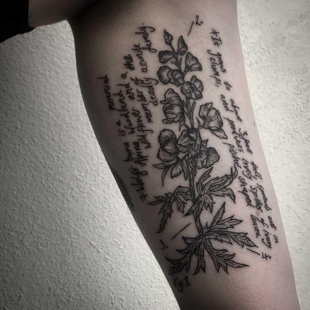 Witchy Wolfsbane tattoo