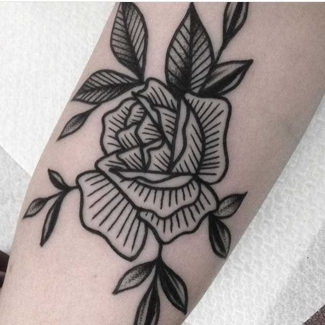 Woodcut blackwork rose by Mikkel