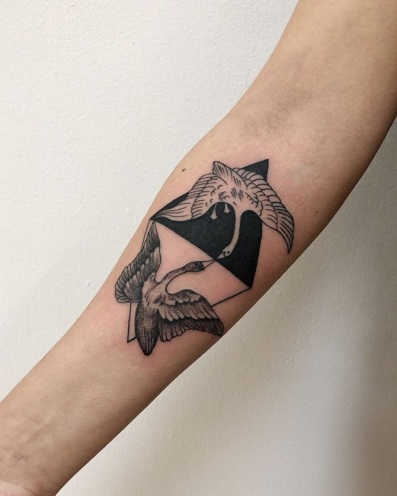 Yin and Yang cranes tattoo