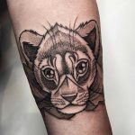 Young curious lion tattoo