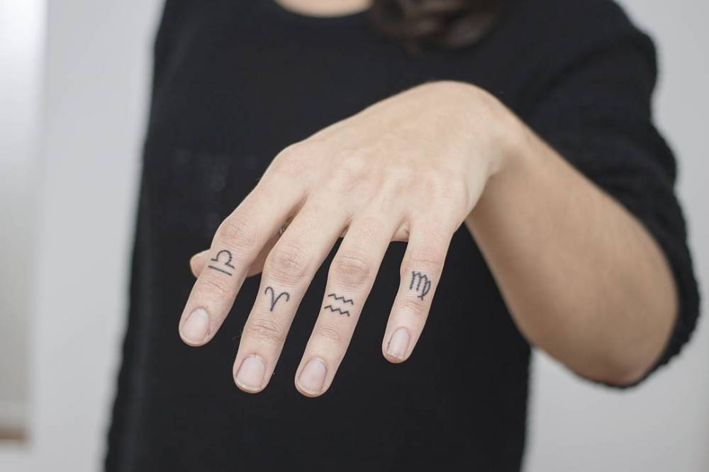 Zodiac sign tattoos by Nano Ponto A Ponto