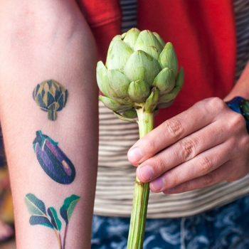 Artichoke and eggplant tattoo by Sasha Unisex