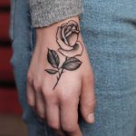 Beautiful grey rose tattoo by Roald Vd Broek