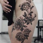 Black and grey peonies tattoo