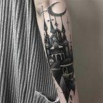 Black church tattoo by Lauren Melina