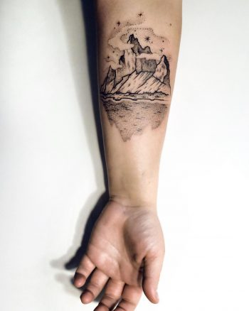 Black mountain tattoo by Sasha