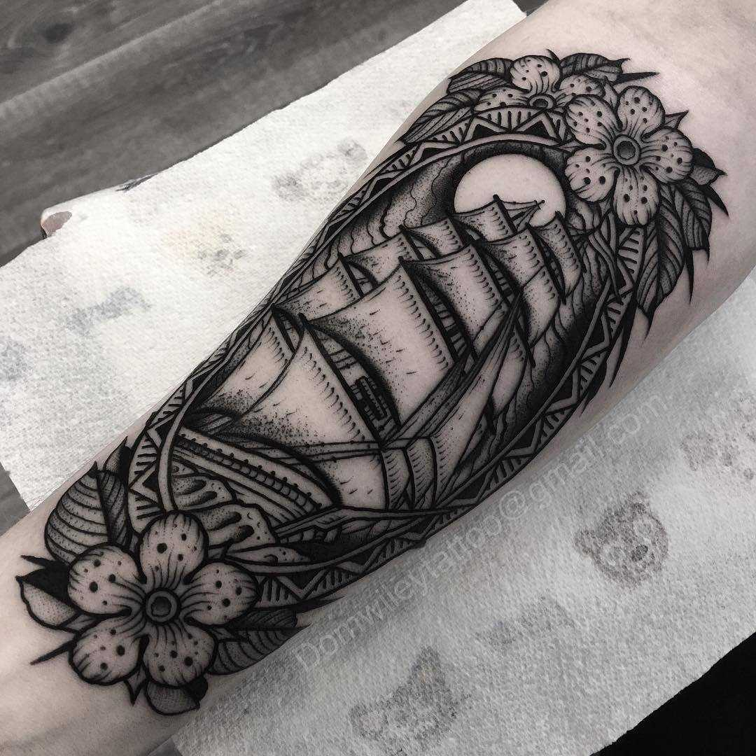 Black ship tattoo by Dom Wiley