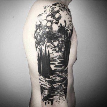 Black sleeve tattoo by Maldenti
