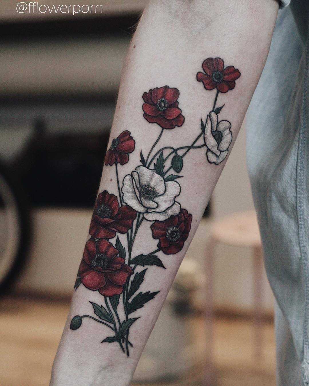 Bloody poppies tattoo