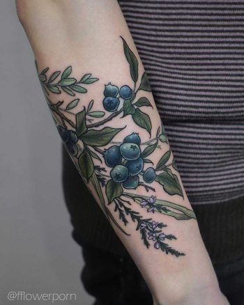 Blueberries and heather tattoo