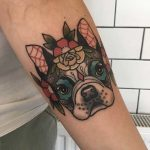 Boston Terrier tattoo by Polly Taylor