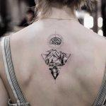 Brain and landscape tattoo