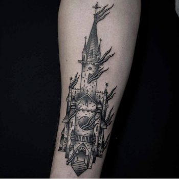 Burning church tattoo by Andre Castcovil