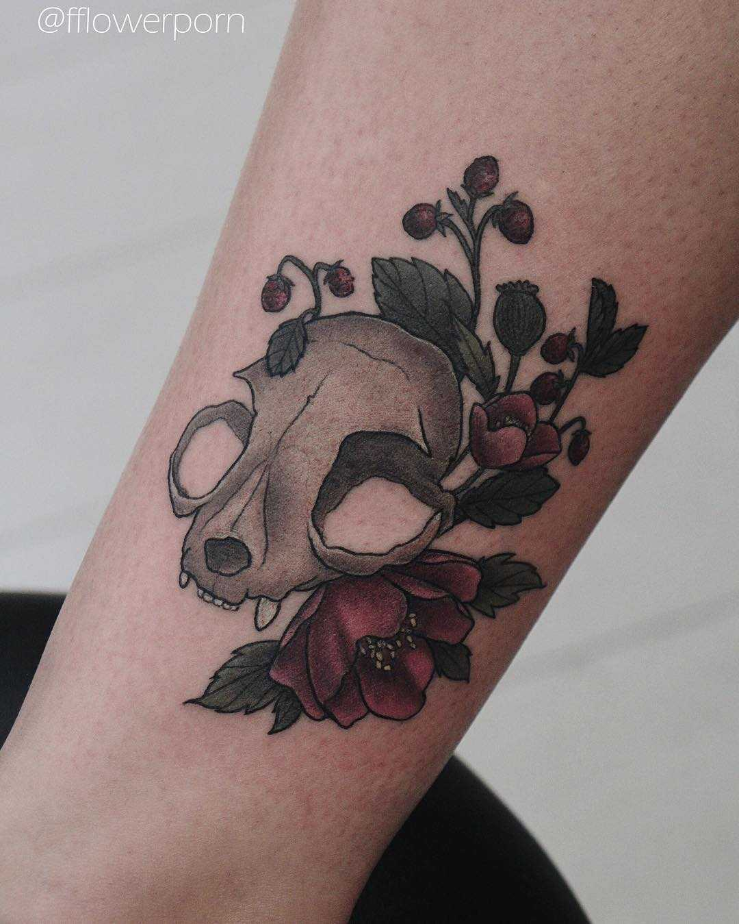 Cat skull with asian poppies and wild strawberries tattoo