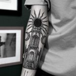 Church and black sun tattoo by SVA