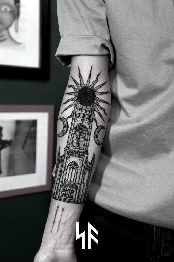 Church and black sun tattoo by SVA