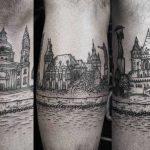 City landscape tattoo by Gabor Zolyomi