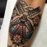 Classic windmill tattoo by Jeroen Van Dijk