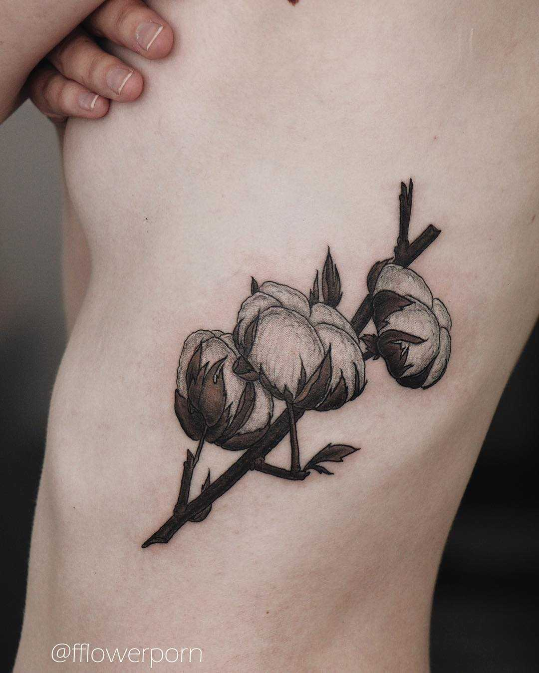 Cotton tattoo on the rib cage